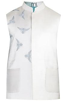 Ivory Embroidered Waistcoat by Mitesh Lodha