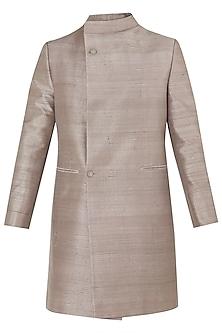 Grey Overlapping Collar Sherwani
