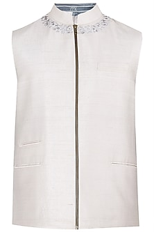Light Grey Embroidered Zipper Waistcoat by Mitesh Lodha