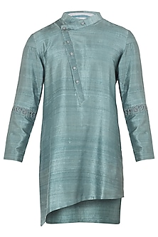 Green Asymmetrical Embroidered Kurta by Mitesh Lodha