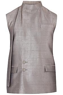 Green Overlapping Collar Waistcoat