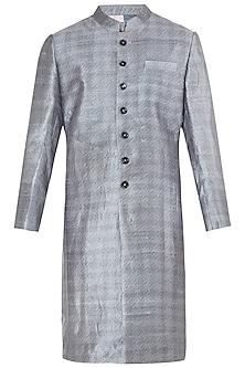 Grey Block Printed Sherwani by Mitesh Lodha