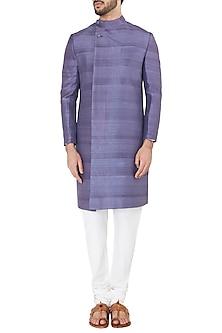 Purple Overlapping Collar Sherwani by Mitesh Lodha