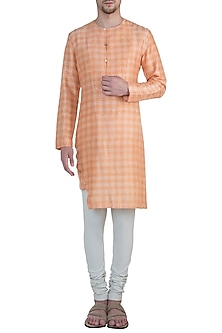 Orange printed kurta by Mitesh Lodha