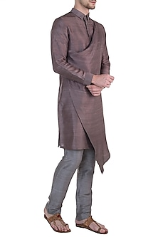 Brown layered kurta by Mitesh Lodha