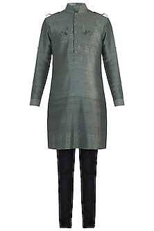 Olive green embroidered kurta by Mitesh Lodha