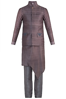 Brown embroidered bundi jacket by Mitesh Lodha