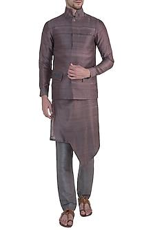 Brown embroidered bundi jacket by Mitesh Lodha