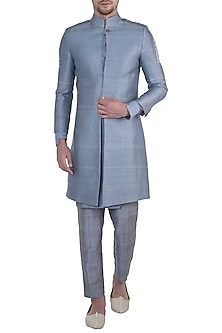 Light blue embroidered sherwani jacket by Mitesh Lodha