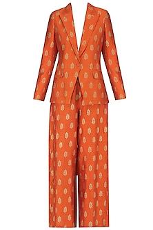 Burnt Orange Foil Printed Blazer and Pant Set by Mint Blush