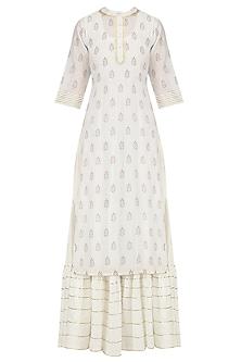 White Tiered Maxi Dress and Foil Print Kurta Set by Mint Blush