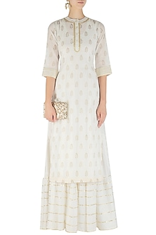 White Tiered Maxi Dress and Foil Print Kurta Set by Mint Blush
