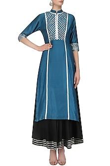 Blue Gota Patti Work Tunic and Black Skirt Set by Mint Blush