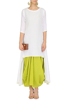 Green Drape Dress and White Tunic Set by Mint Blush