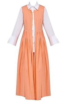 White Pleated Shirt, Palazzo Pants and Orange Cape Set by Mint Blush