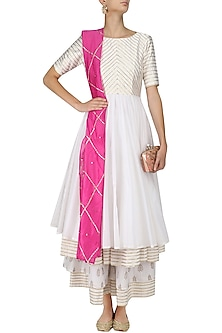 White and Gold Gota Work Double Layer Kalidaar Kurta Set by Mint Blush