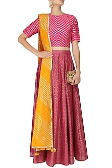 Pink and Gold Gota Crop Top with Foil Kalidaar Skirt. by Mint Blush