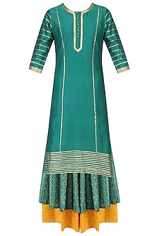 Deep Green and Gold Gota Work Tunic with Layered Skirt Set by Mint Blush