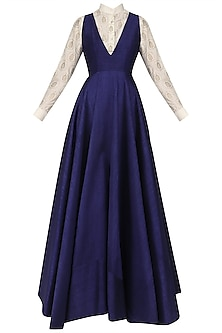 Dark Blue Flared Gown with Off White Foil Print Shirt