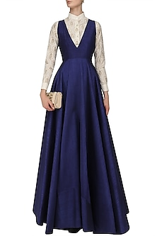 Dark Blue Flared Gown with Off White Foil Print Shirt by Mint Blush
