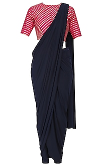 Navy Pre-Stiched Drape Saree with Pink Gota Work Blouse by Mint Blush