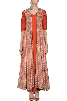 Orange Kurta and Palazzo Set with Printed Long Jacket by Mint Blush