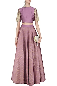 Purple and Gold Gota Work Crop Top and Foil Work Flared Skirt by Mint Blush