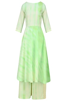 Mint Tie and Dye Patterened Kurta Set with Pink Stole