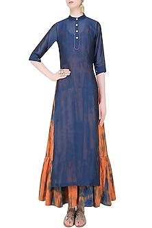 Navy Plain Kurta with Orange Tie and Dye Tiered Dress by Mint Blush