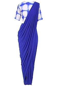 Royal Blue Draped Saree with Tie and Dye Blouse