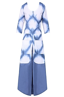 Blue and White Front Draped Dress