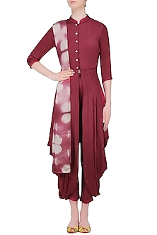 Wine Cowl Front Open Tunic with Palazzos and Tie and Dye Stole by Mint Blush