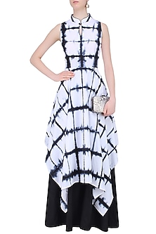 Black and White Tie and Dye Layered Dress by Mint Blush