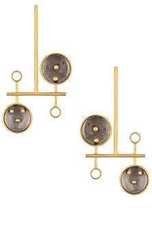 Gold and Gunmetal Plated Geometric Earrings by Misho