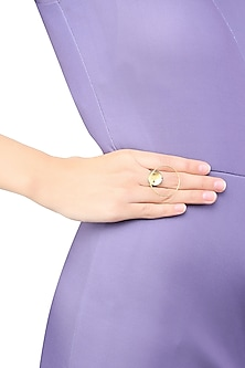 Gold and Gunmetal Plated Mini Flux Ring by Misho