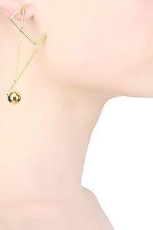 Gold plated abstract single drop earrings