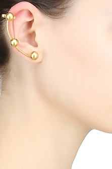 Gold plated ear cuff golden stud earrings