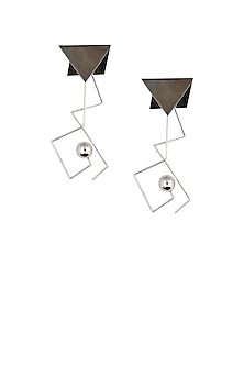 Silver Finish Triangular Top And Silver Ball Drop Earrings by Misho