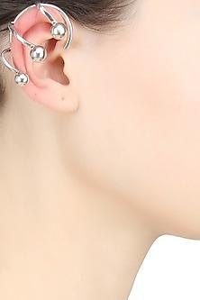 Silver Finish Silver Ear Cuff Stud Earrings by Misho