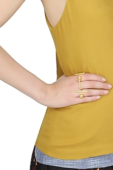 Gold plated open ring with horizontal bar and sphere ball