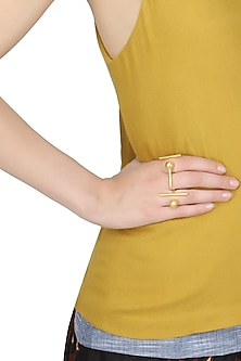 Golden bar and sphere ball drop adjustable ring