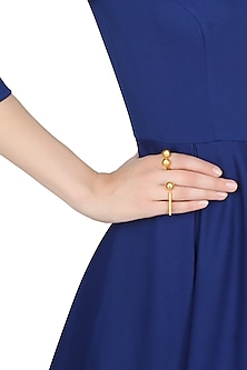 Gold plated open finger ring with parallel bars and sphere ball