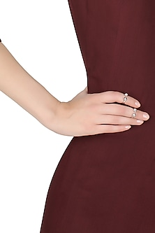 silver finish dual sphere ball midi rings by Misho