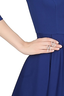 Silver abstract square midi rings