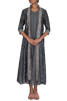 Stone Grey Printed Jacket With Dress by Megha & Jigar