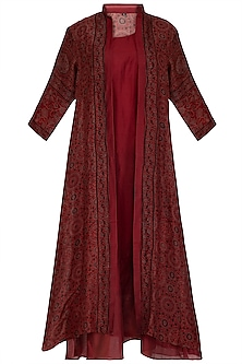Maroon Ajrakh Printed Jacket With Dress by Megha & Jigar