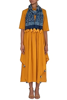Mustard Yellow Kurta Dress With Printed Scarf by Megha & Jigar