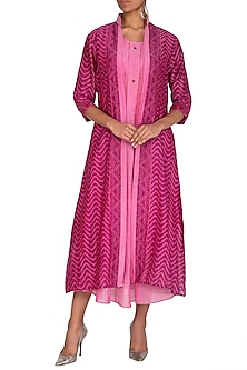 Pink Ajrakh Printed Jacket With Dress by Megha & Jigar