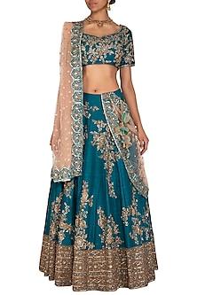 Peacock Blue Embroidered Lehenga Set by Megha & Jigar
