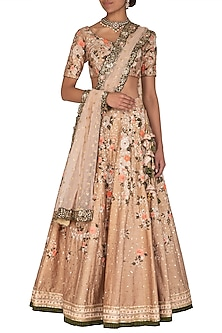 Beige & Peach Embroidered Lehenga Set by Megha & Jigar